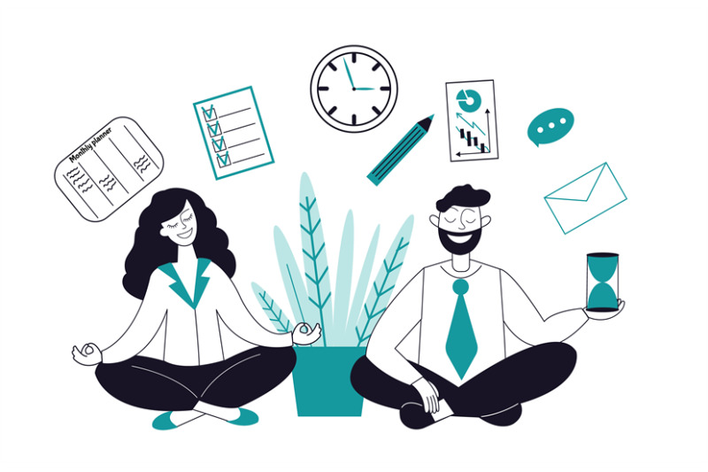 business-meditation-characters-female-relax-businesswoman-in-yoga-po