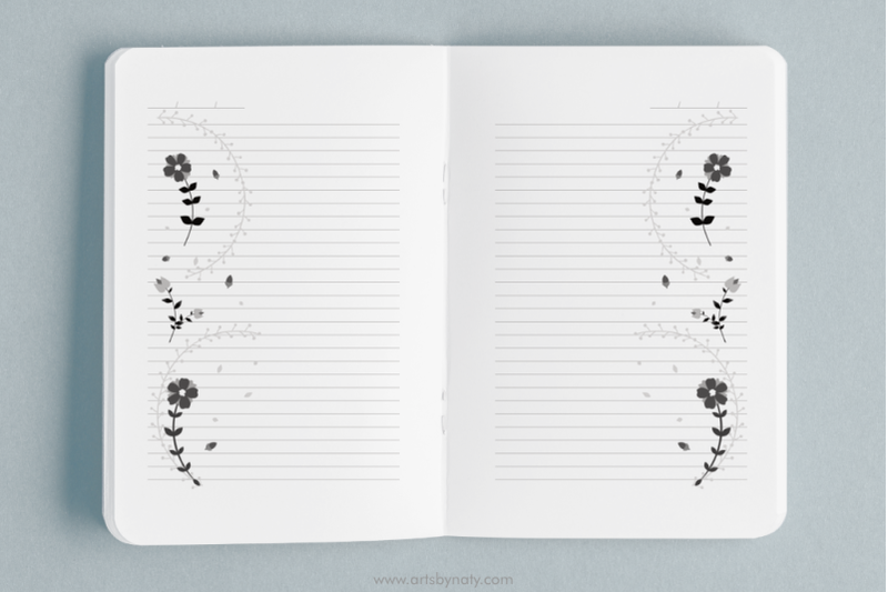cute-floral-black-and-white-kdp-notebook-interior