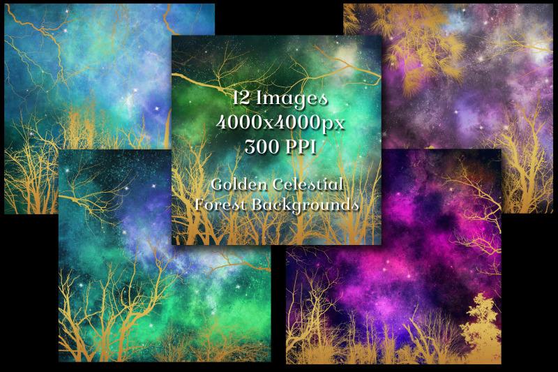golden-celestial-forest-backgrounds-12-image-textures-set