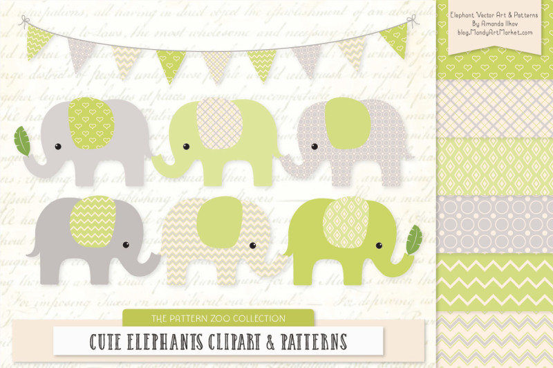 pattern-zoo-vector-elephants-clipart-and-digital-papers-in-bamboo