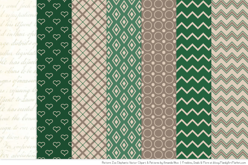 pattern-zoo-vector-elephants-clipart-and-digital-papers-in-emerald