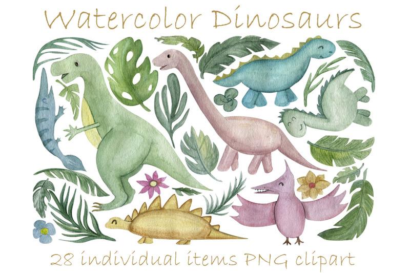 neutral-dinosaur-clipart-palm-leaves-tropical-clip-art