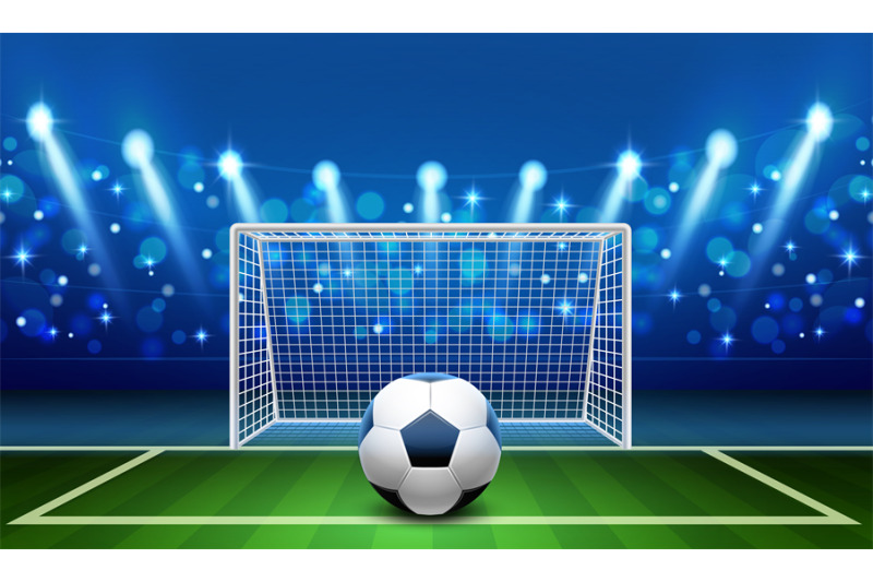 penalty-kick-realistic-soccer-ball-lying-on-grass-front-empty-footbal