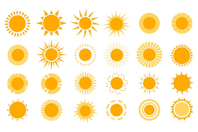 sun-icons-modern-simple-seasons-signs-summer-emblems-sunshine-silho