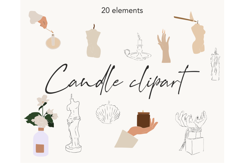 logo-elements-candle-design-aesthetic-elements-candle-clipart-body