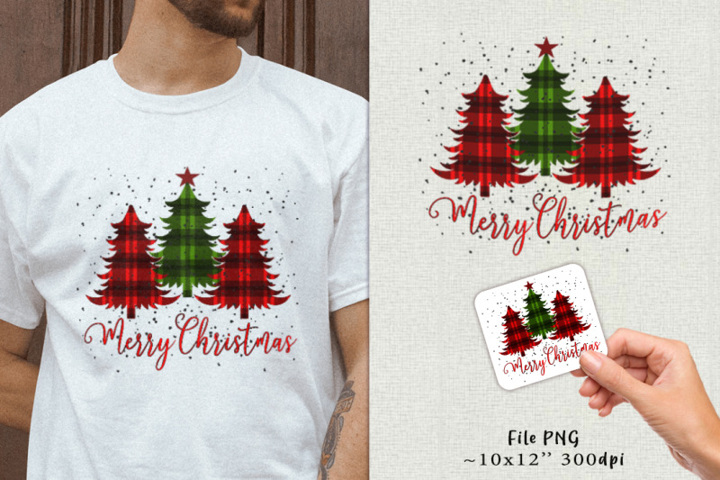 fir-trees-with-a-plaid-blanket-sublimation-sticker