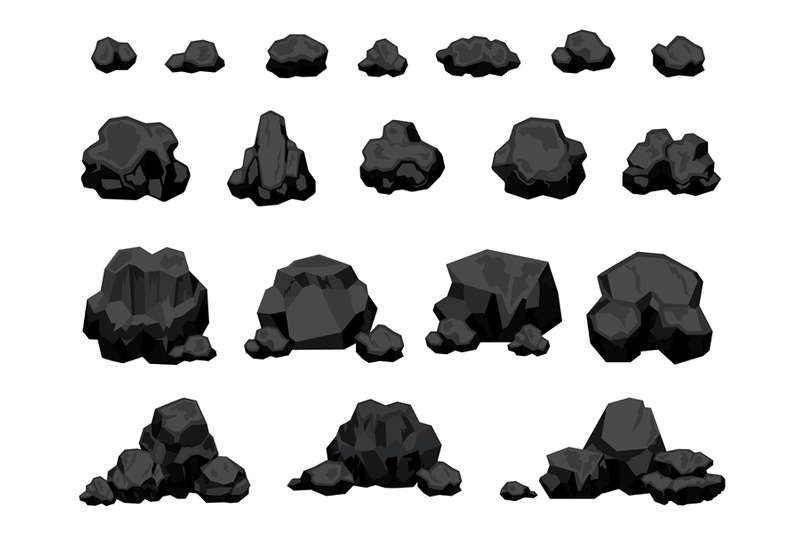 cartoon-mine-black-coal-pieces-and-piles-burning-material-charcoal-l