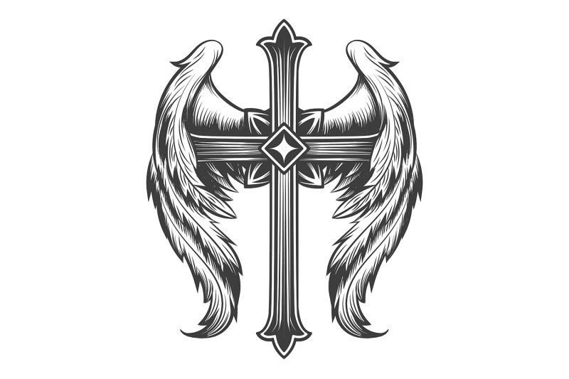 winged-cross-engraving-tattoo