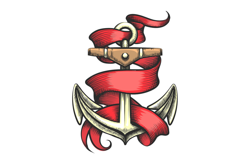 golden-anchor-with-red-ribbon-tattoo