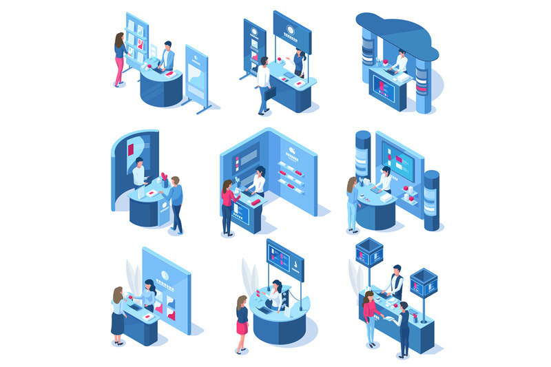isometric-3d-exhibition-demonstration-promo-stands-workers-and-visitor