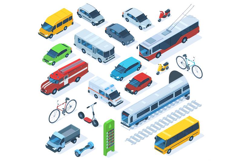 isometric-public-city-transport-scooter-bus-fire-engine-public-mun