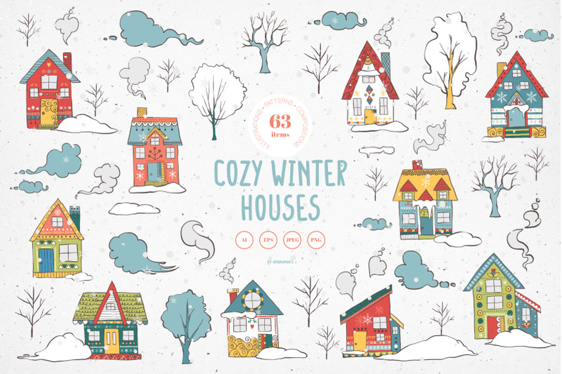 cozy-winter-houses-vector-illustrations