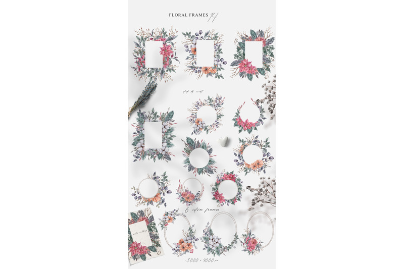 christmas-watercolor-floral-collection