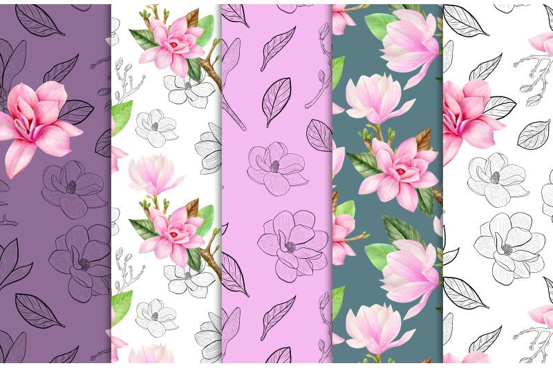 magnolia-watercolor-digital-paper-bright-pink-floral-seamless-pattern