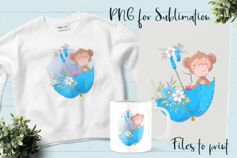 cute-monkey-sublimation-design-for-printing
