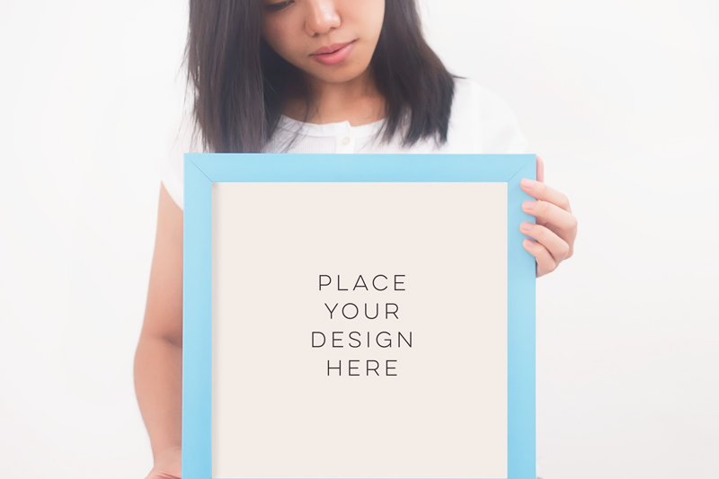 Free Art Print stock photography, Square frame mock up, Blue square frames, Digital product mock up, Framed art, Minimalist White background, (PSD Mockups)