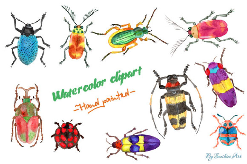 set-of-watercolor-whimsical-insects-digital-clip-art