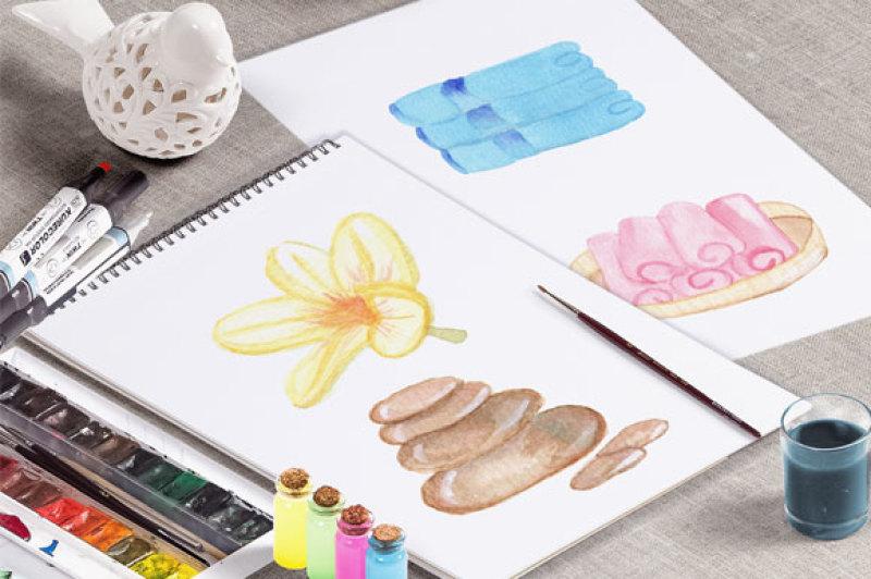 set-of-watercolor-spa-design-elements-digital-clip-art