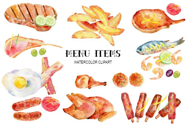 watercolor-clipart-menu-items