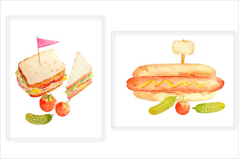watercolor-sandwich-burger-hotdog