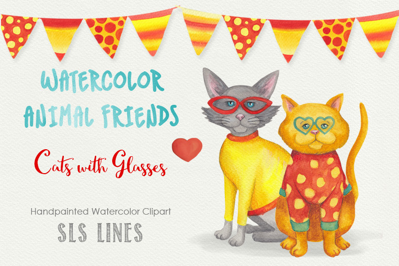 cats-with-glasses-watercolor-set
