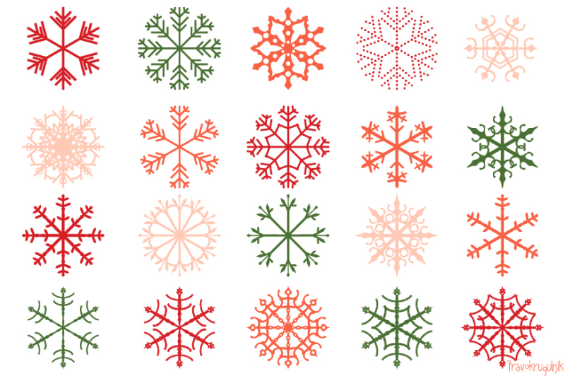 Red Christmas Snowflakes Clipart Set, Pink Snowflake Clip