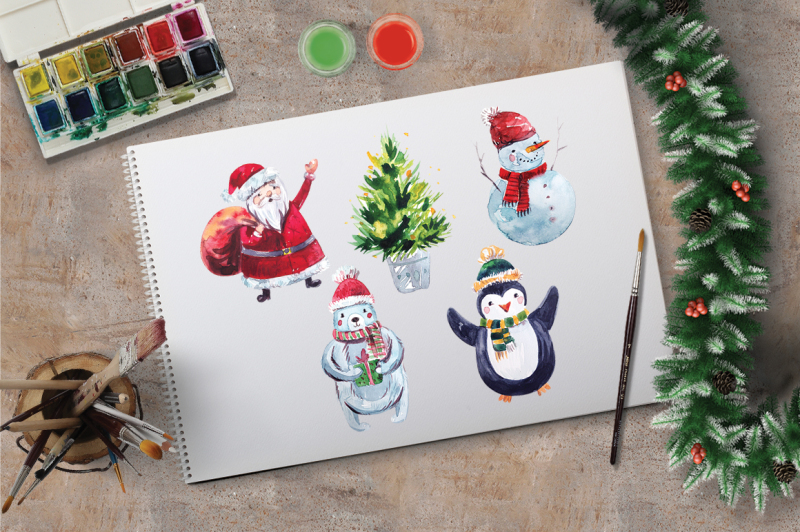 watercolor-holly-jolly-collection-elements-and-patterns