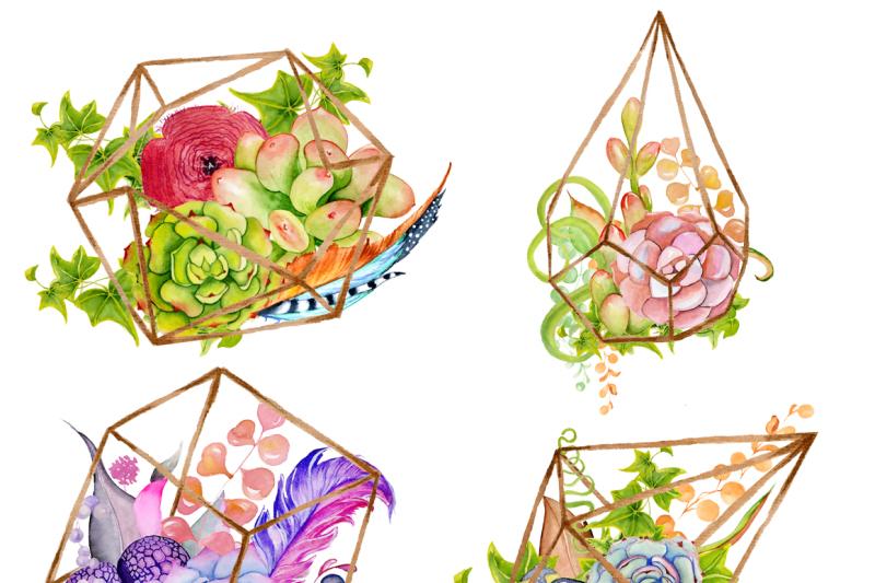 watercolor-succulents-and-cactus-terrariums-cactus-clipart-hand-painted-clipart-succulents-clip-art