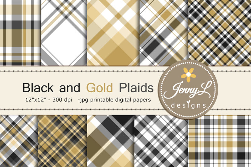 black-and-gold-plaid-digital-papers