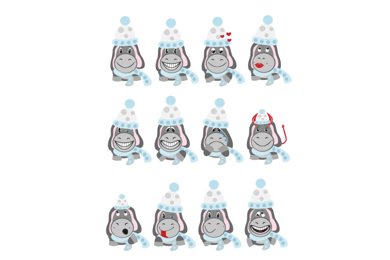 icons-of-donkeys-in-winter-hats-depicting-various-types-of-emotions-the-archive-contains-eps-10-in-any-desired-size-300-a-jpeg-on-a-white-background-jpeg-300-dpi-on-a-black-background
