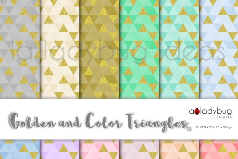golden-and-color-triangle-digital-paper-colection