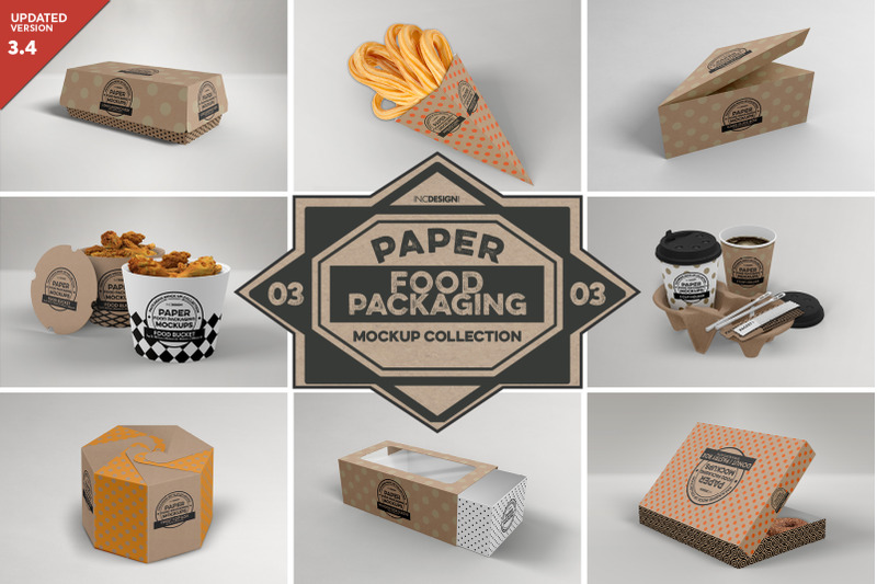 Free VOL 3: Paper Food Box Packaging Mockup Collection (PSD Mockups)