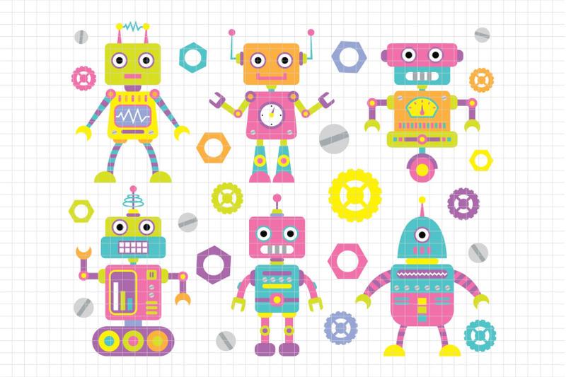 robot-and-friends-digital-clipart-les-cl37b