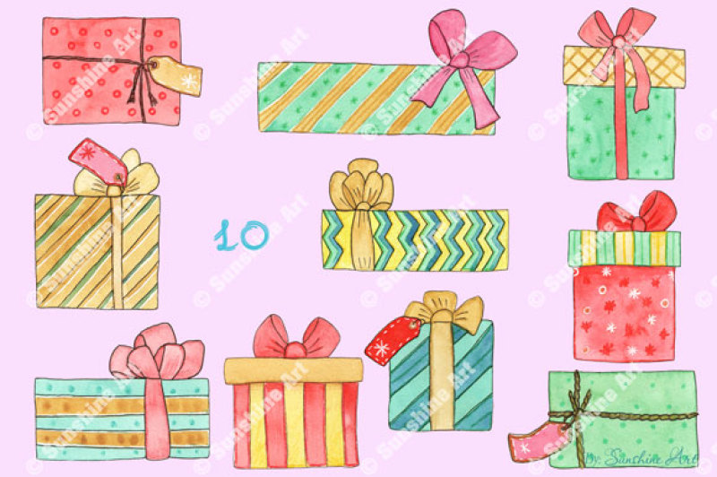 christmas-gift-boxes-watercolor-clip-art-kit
