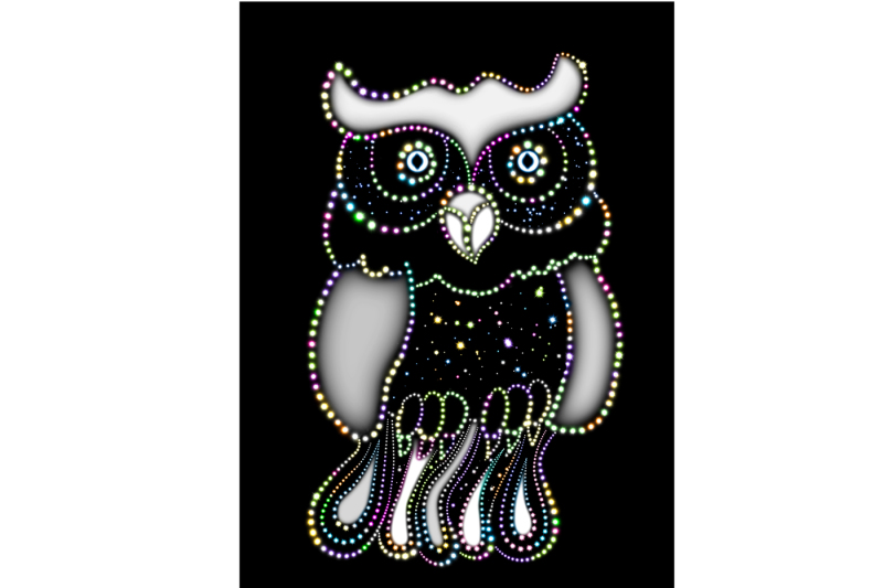 the-image-of-a-bright-glowing-owl-on-a-black-background-the-archive-contains-6-jpeg-files-300-dpi