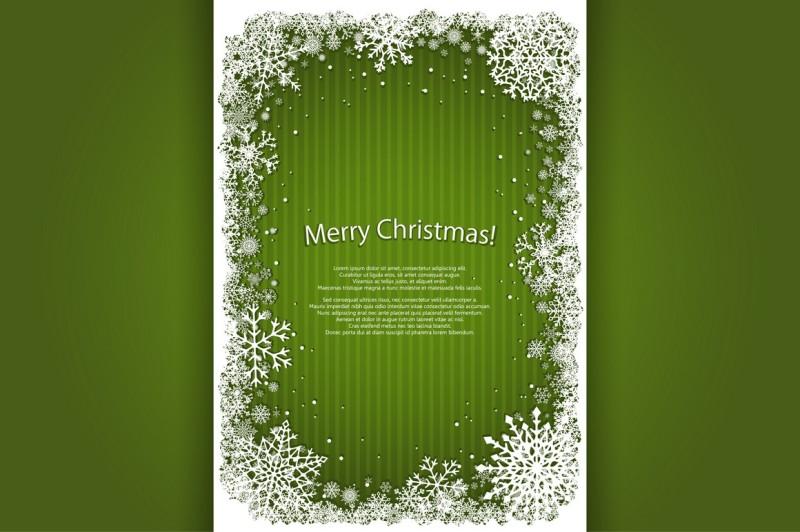 set-of-green-vector-christmas-frames