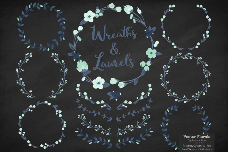 floral-wreath-and-laurels-vectors-in-navy-and-mint