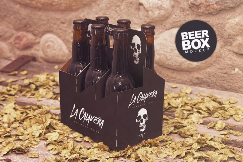Free 6 Pack Beer Box Mockup (PSD Mockups)