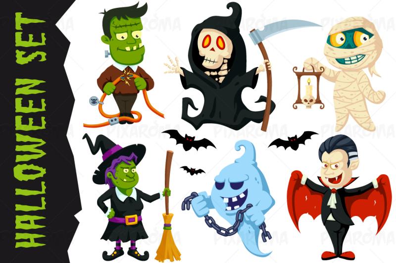 halloween-flat-cartoon-characters-set