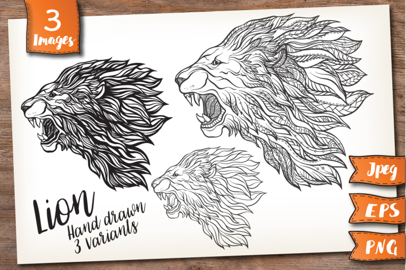 lion-outline-and-patterned
