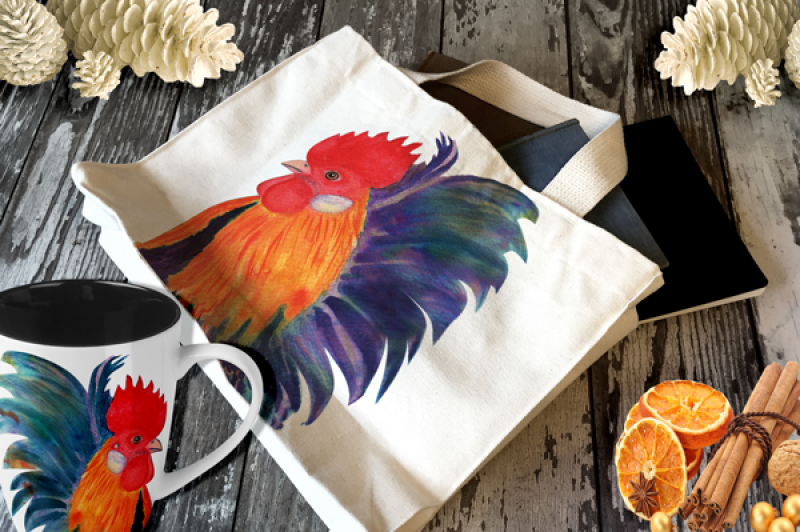 2017-year-of-the-red-fire-cock-rooster-watercolor-and-hand-lettering-kit