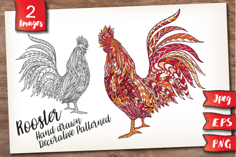 rooster-outline-color