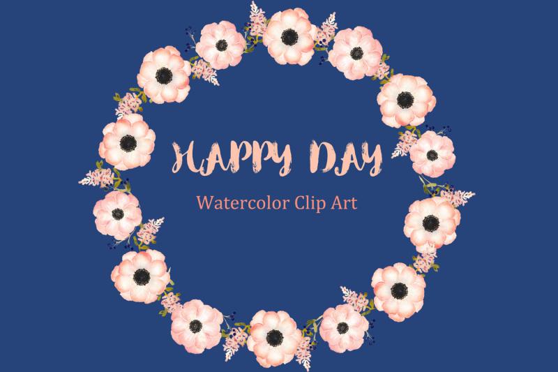 anemones-apricot-watercolor-clipart