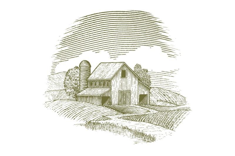 woodcut-barn