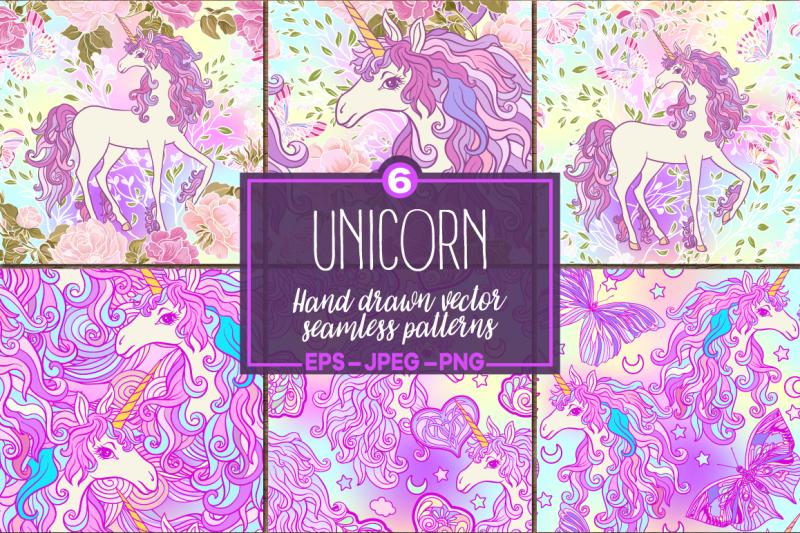 unicorn-seamless-patterns-set