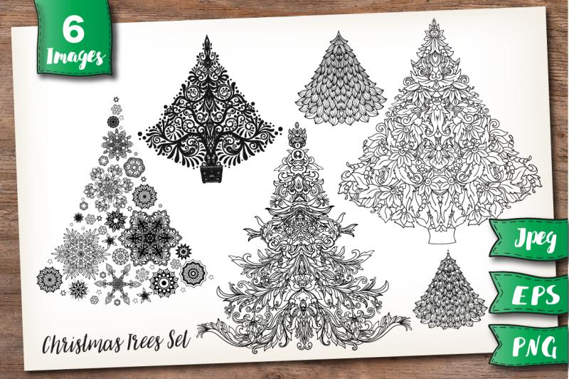 christmas-trees-set