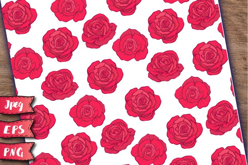 red-roses-seamless-patterns-set