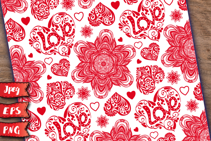 set-love-hearts-seamless-patterns
