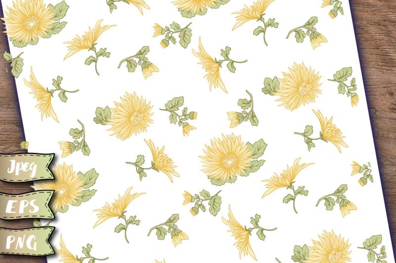 chrysanthemums-seamless-patterns-set