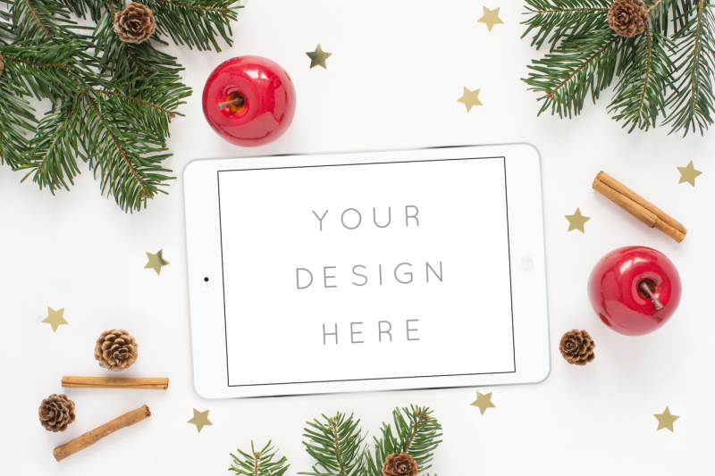 Free Winter styled tablet (PSD Mockups)